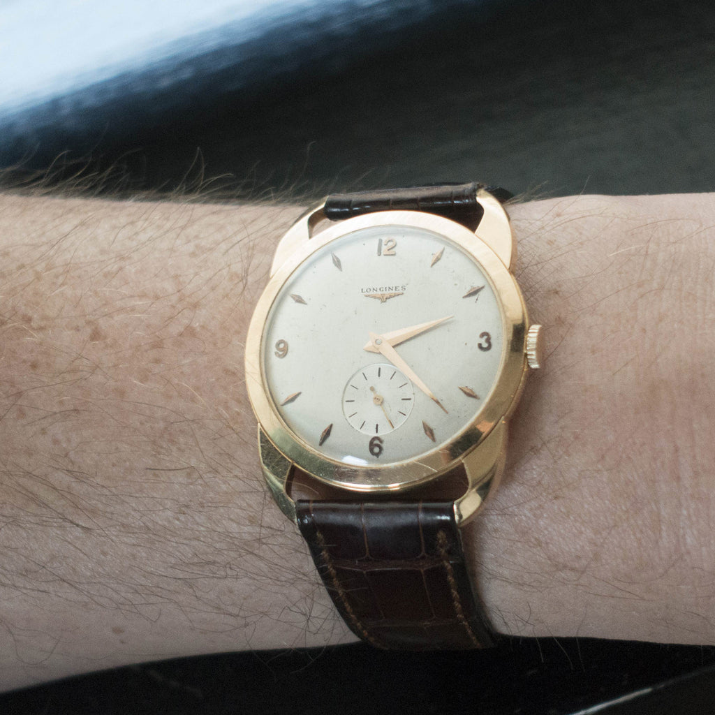 1950s Longines Dress Watch Reference 6037-1 In Yellow Gold