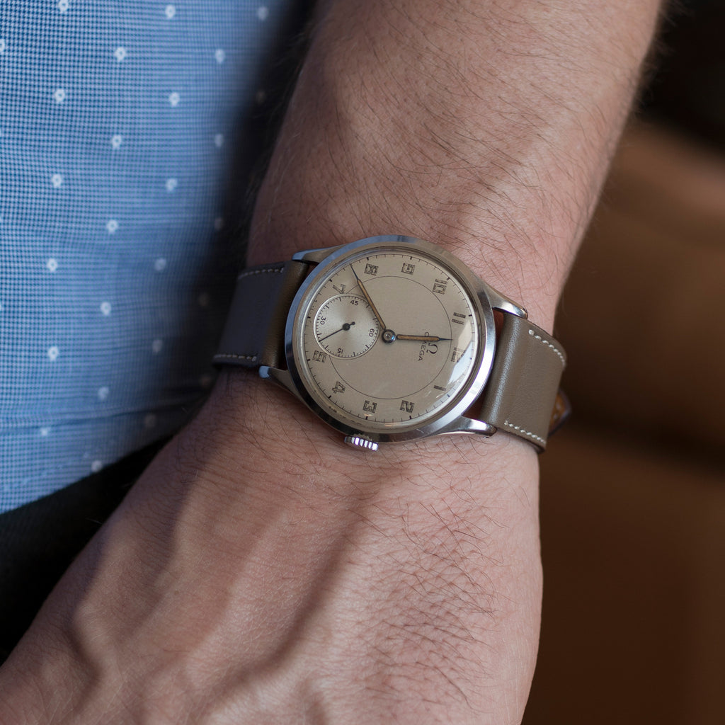 1940s Omega Oversized Steel Dress Watch
