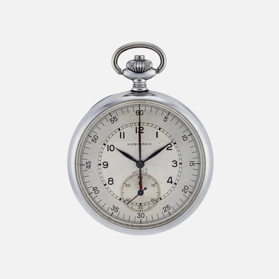 1940s Longines Single-Button Chronograph Pocket Watch In Steel