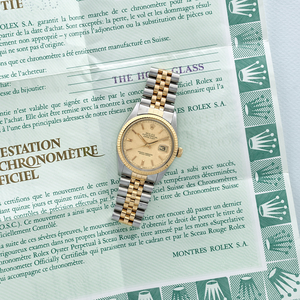1986 Two-Tone Rolex Datejust Reference 16013 With Linen Dial And Original Papers