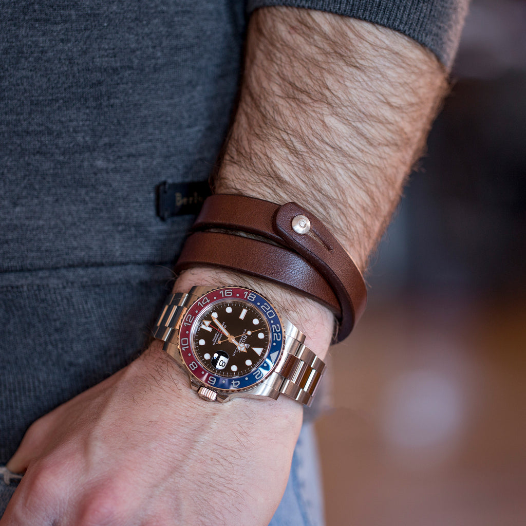 Double Wrap Dark Brown Leather Wristband