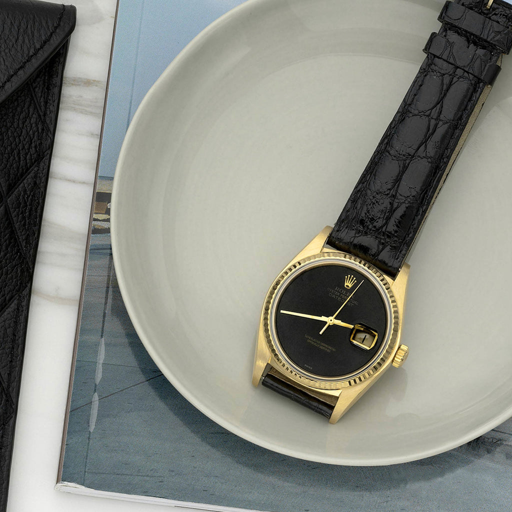 1982 Rolex Datejust Reference 16018 In Yellow Gold With Black Onyx Dial