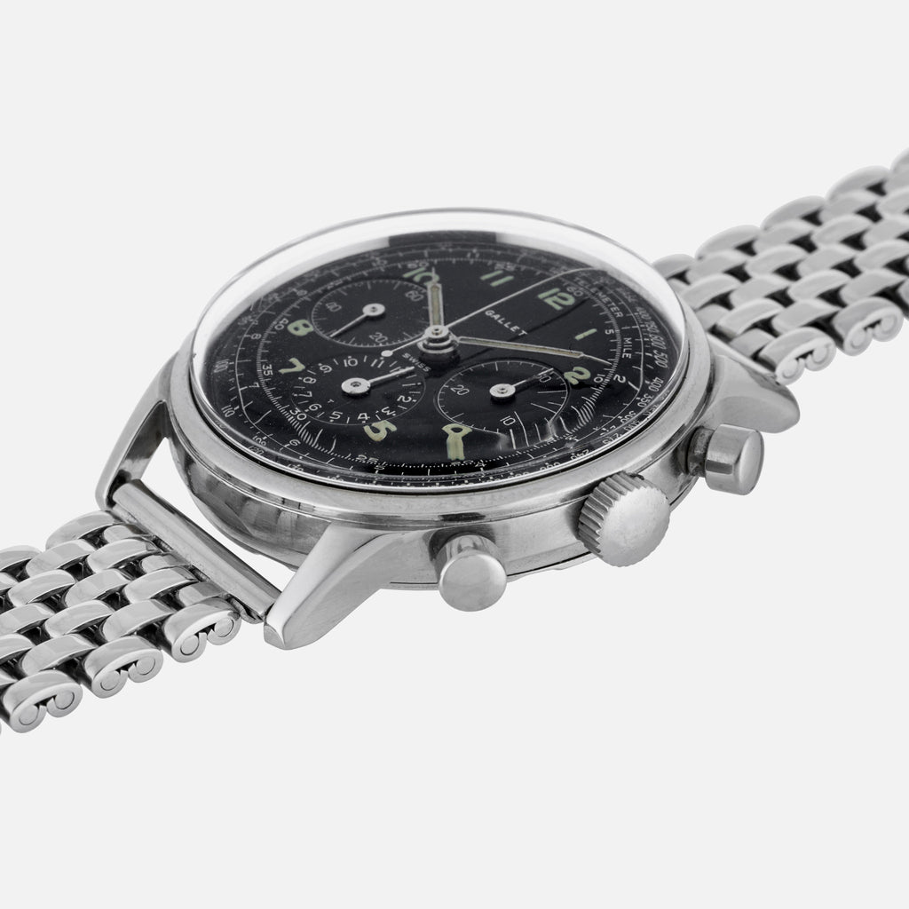 1960s Gallet Multi-Chron Chronograph With Black Dial