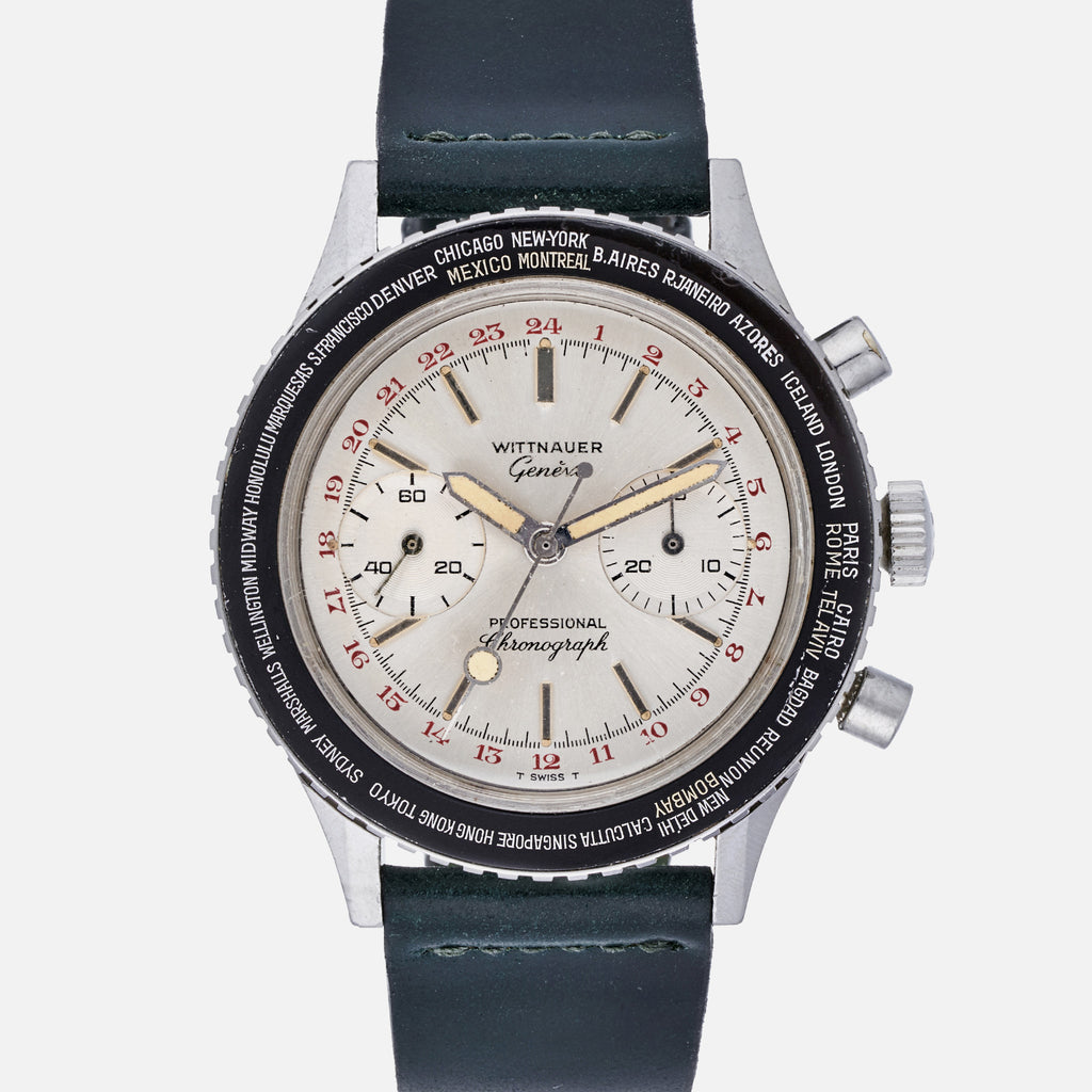 1960s Wittnauer Professional World-Time Chronograph Reference 7004B