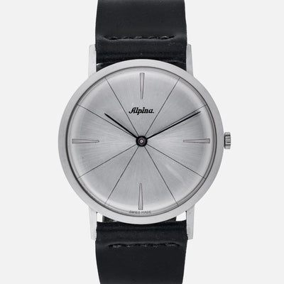 1960s Alpina Ultra-Thin Dress Watch In Steel