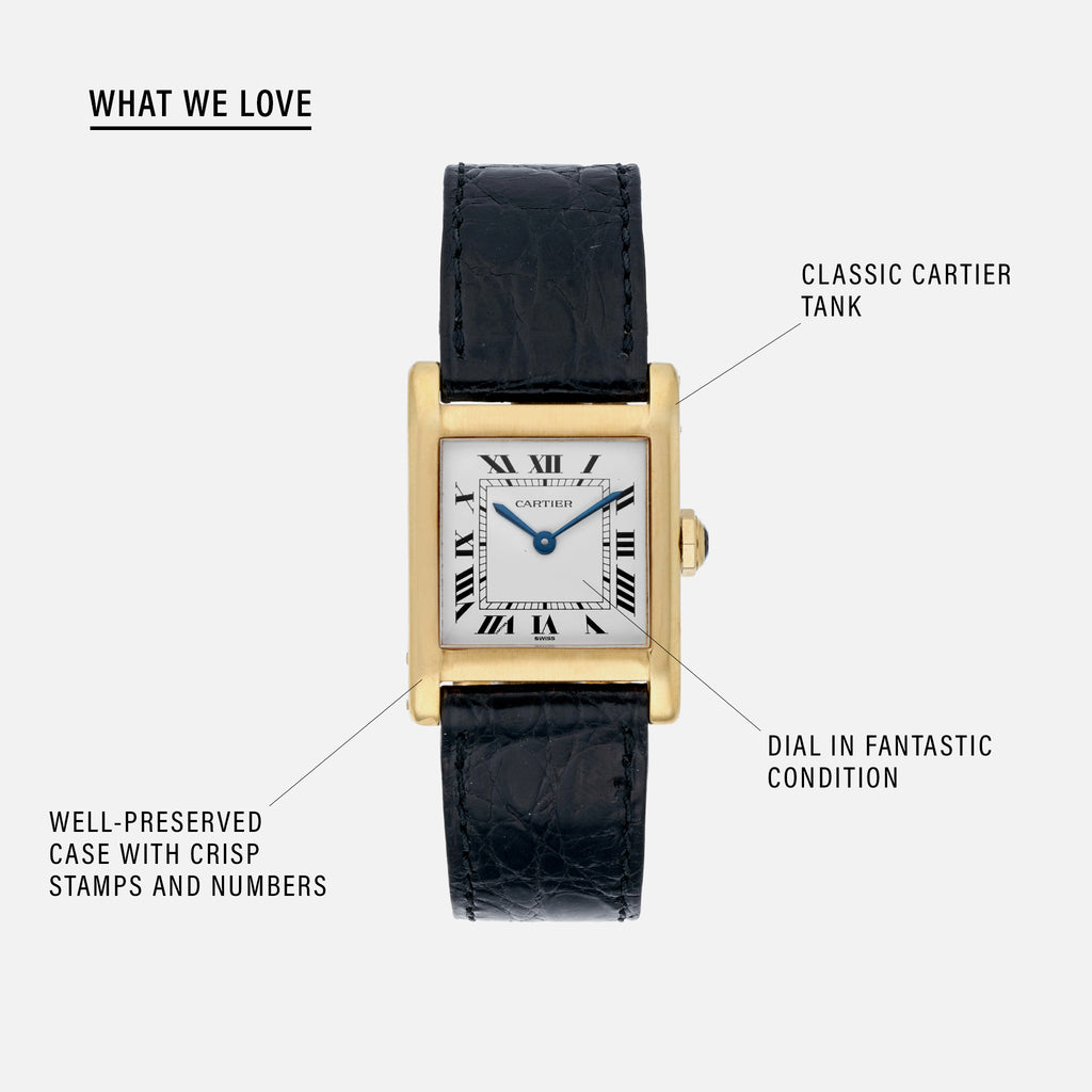 1980s Cartier Tank In Yellow Gold