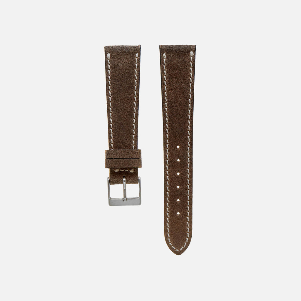 Aged Dark Brown Leather Watch Strap