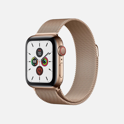 Apple Watch Series 5 GPS + Cellular Gold Stainless Steel Case 44mm With Gold Milanese Loop alternate image.