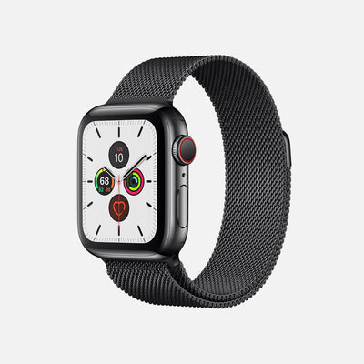 Apple Watch Series 5 GPS + Cellular Space Black Stainless Steel Case 44mm With Space Black Milanese Loop alternate image.