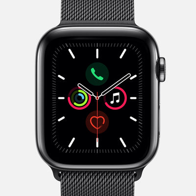 Apple Watch Series 5 GPS + Cellular Space Black Stainless Steel Case 44mm With Space Black Milanese Loop
