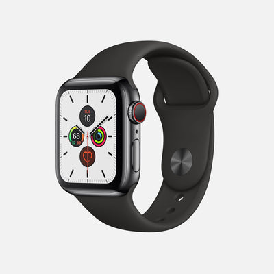 Apple Watch Series 5 GPS + Cellular Space Black Stainless Steel Case 40mm With Black Sport Band alternate image.
