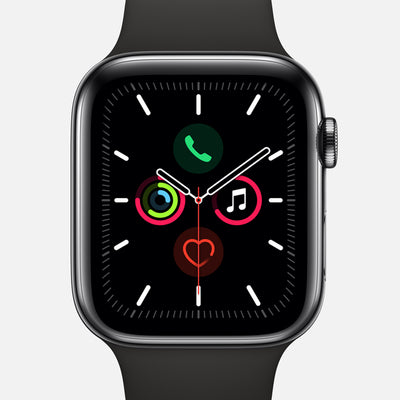 Apple Watch Series 5 GPS + Cellular Space Black Stainless Steel Case 44mm With Black Sport Band