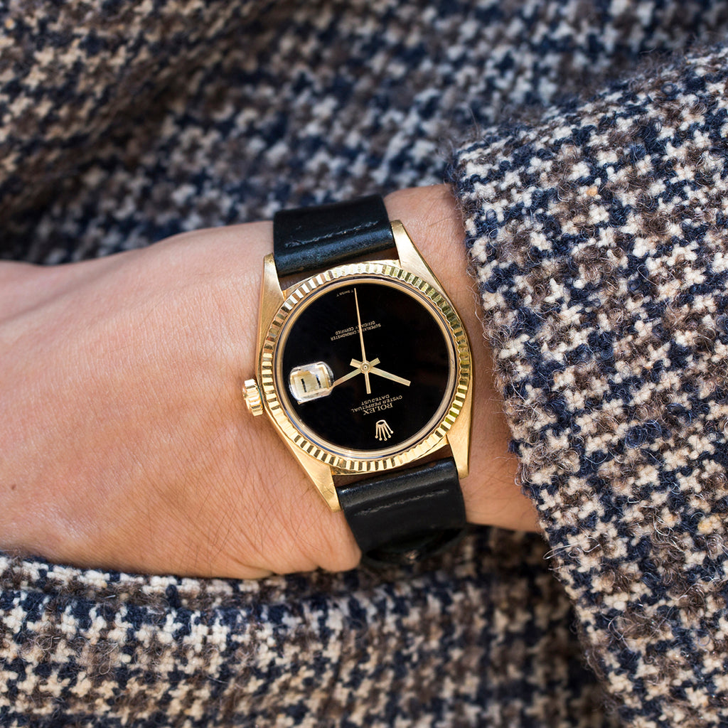 1975 Rolex Datejust Reference 1601 In Yellow Gold With Black Onyx Dial