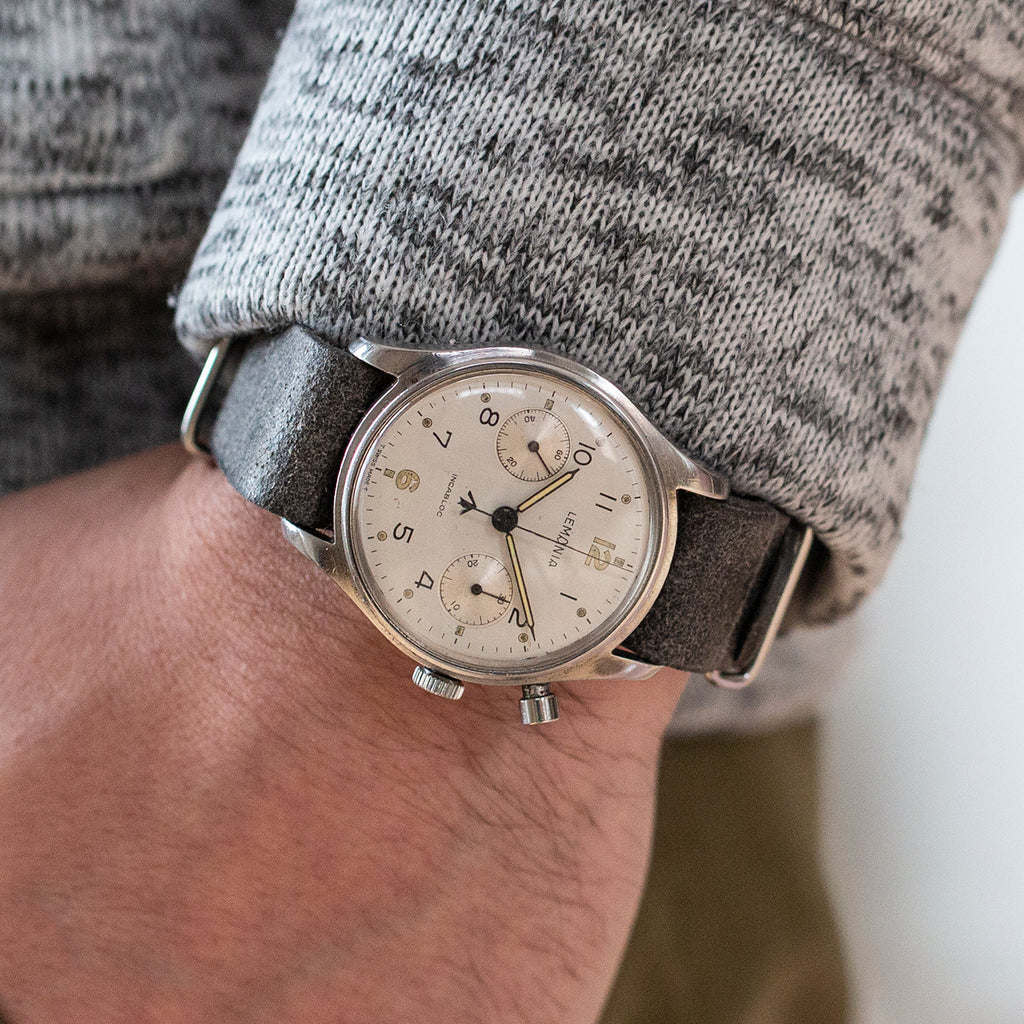 1960s Lemania Monopusher Military Chronograph