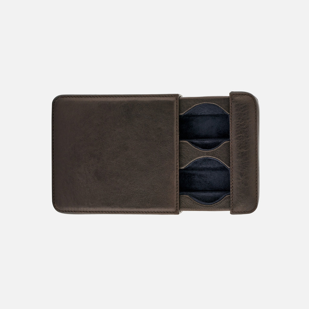 Brown Leather Case For Two Watches
