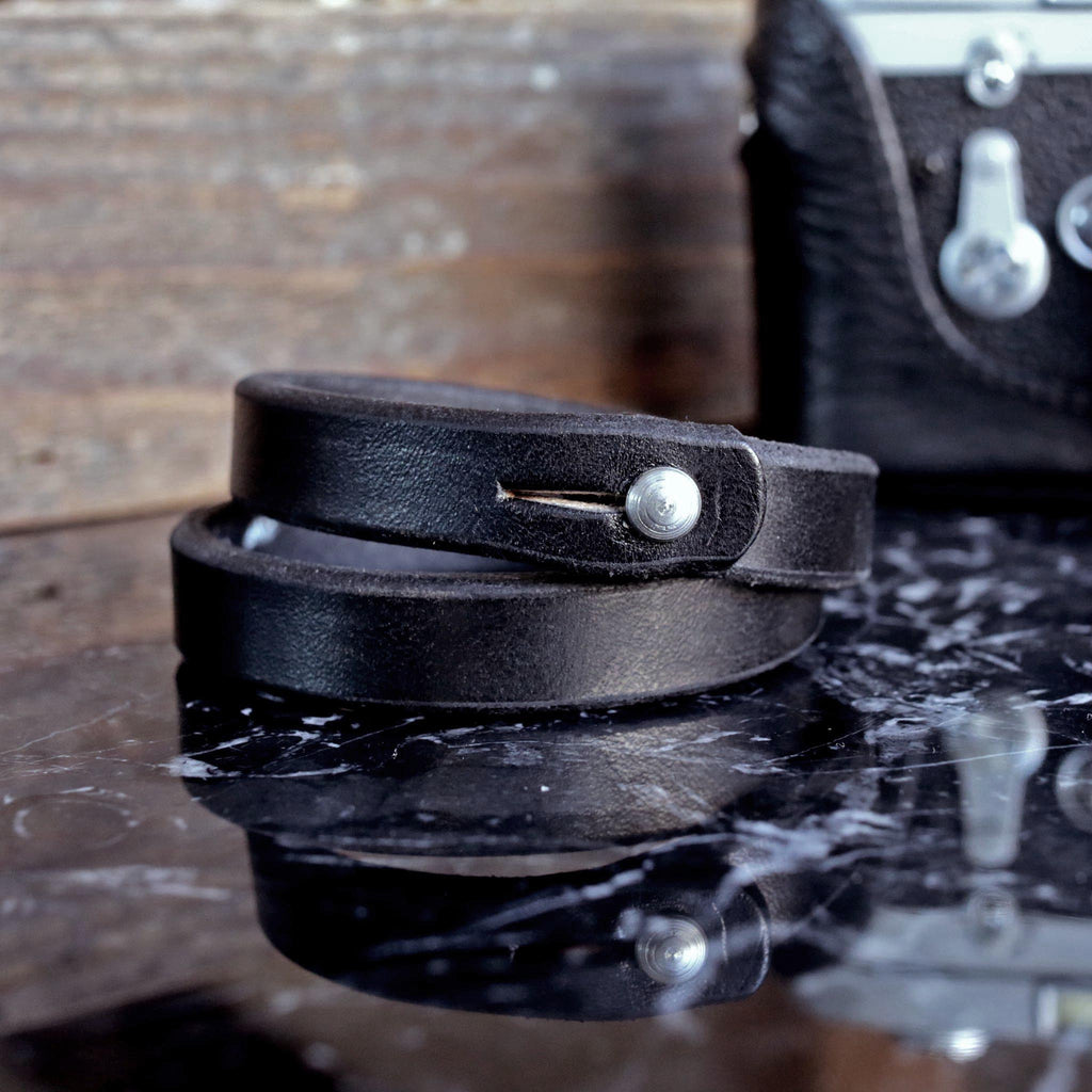 Double Wrap Black Leather Wristband