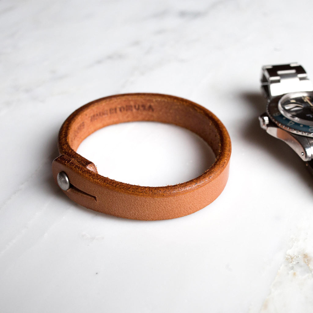 Single Wrap Tan Leather Wristband