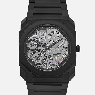 BVLGARI Octo Finissimo Skeleton In Black Ceramic With Bracelet