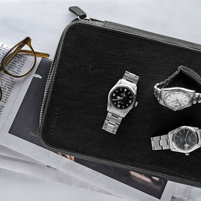 Leather Folio For Ten Watches In Black alternate image.