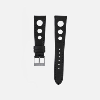 Black Leather Rallye Watch Strap