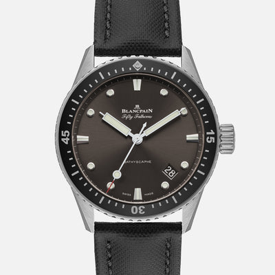 Blancpain Fifty Fathoms Bathyscaphe 43mm Grey Dial In Steel
