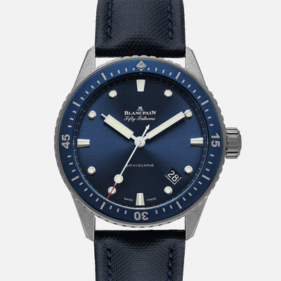 Blancpain Fifty Fathoms Bathyscaphe 43mm Blue Dial In Plasma Grey Ceramic