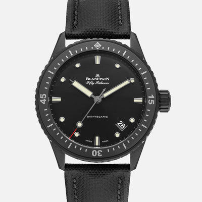 Blancpain Fifty Fathoms Bathyscaphe 43mm In Black Ceramic