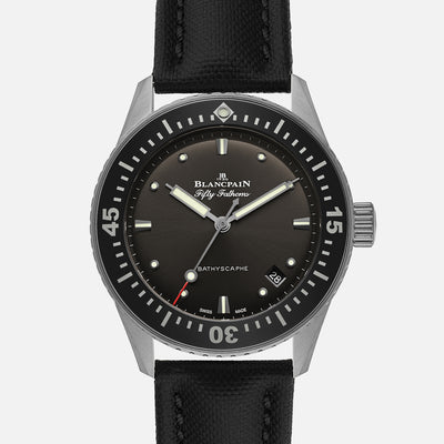 Blancpain Fifty Fathoms Bathyscaphe 38mm Grey Dial In Steel