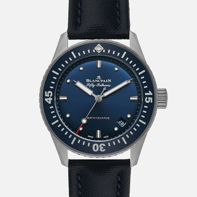 Blancpain Fifty Fathoms Bathyscaphe 38mm Blue Dial In Steel