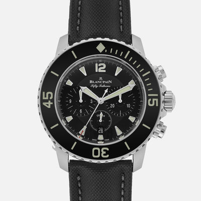 Blancpain Fifty Fathoms Flyback Chronograph 45mm Black Dial In Steel