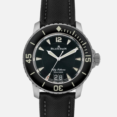 Blancpain Fifty Fathoms Grande Date 45mm Black Dial In Titanium