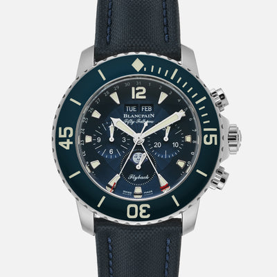 Blancpain Fifty Fathoms Flyback Chronograph Complete Calendar 45mm Blue Dial In Steel