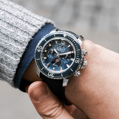 Blancpain Fifty Fathoms Flyback Chronograph Complete Calendar 45mm Blue Dial In Steel alternate image.