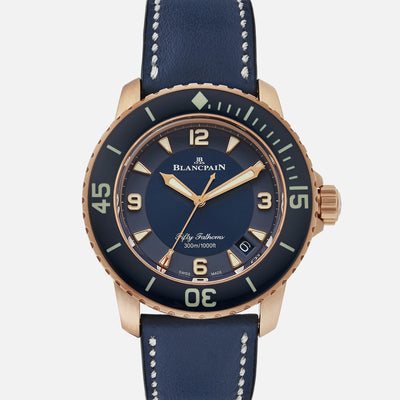 Blancpain Fifty Fathoms Automatique 45mm Blue Dial In Red Gold