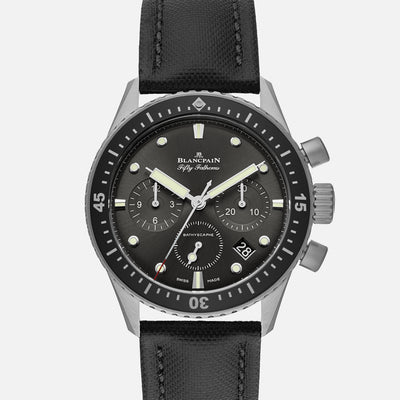 Blancpain Fifty Fathoms Bathyscaphe Flyback Chronograph 43mm Grey Dial In Steel