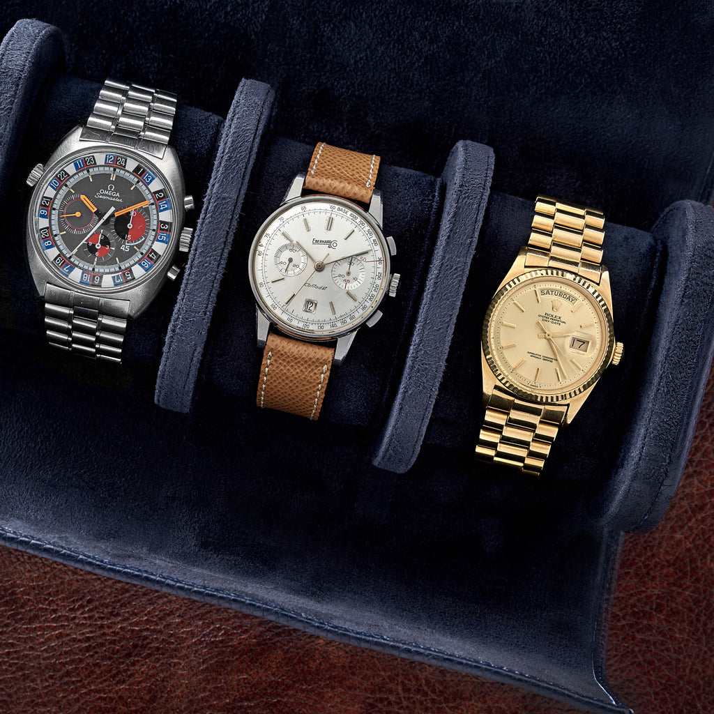 Oval Leather Travel Case For Four Watches