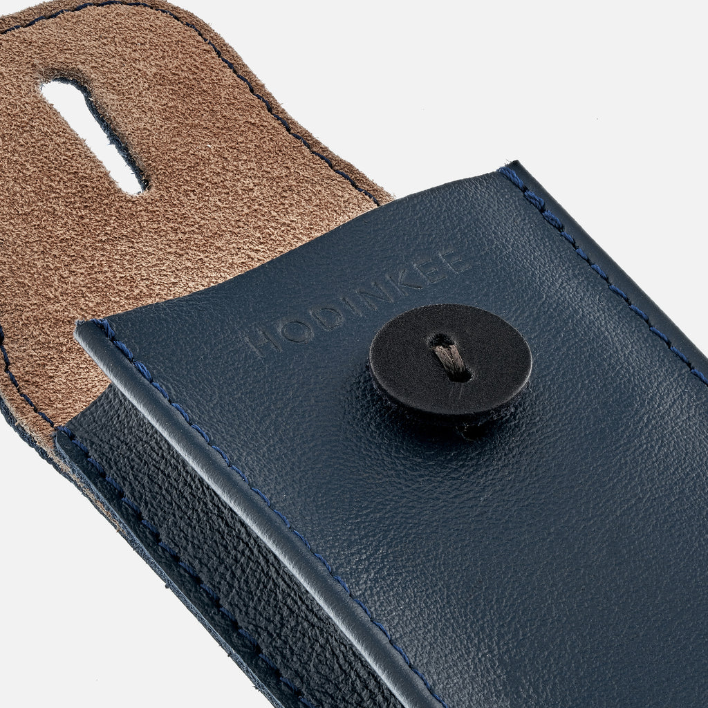 Soft Leather Mini Watch Pouch In Navy Blue