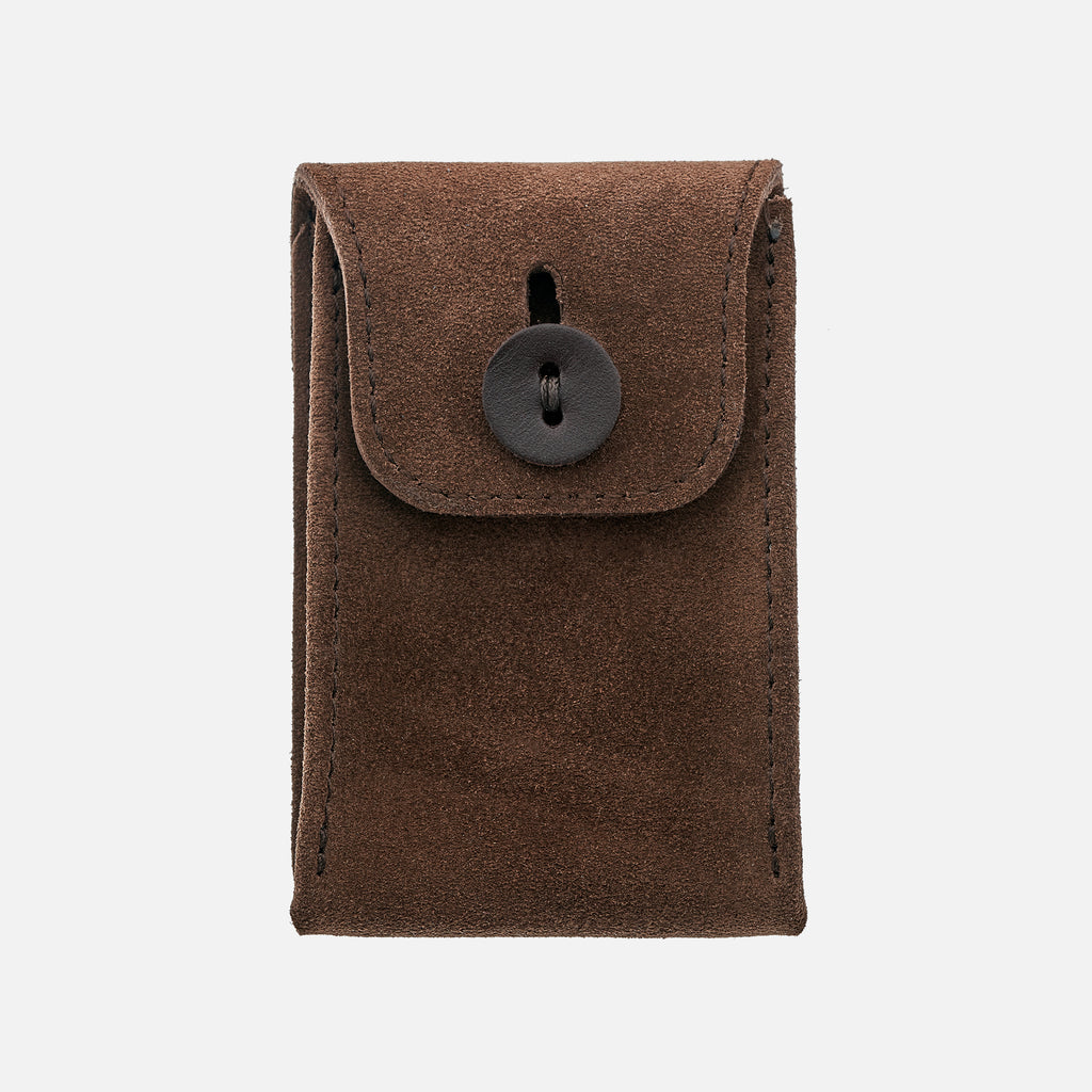 English Suede Mini Leather Watch Pouch In Brown