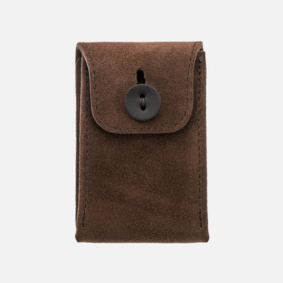English Suede Mini Leather Watch Pouch In Dark Brown