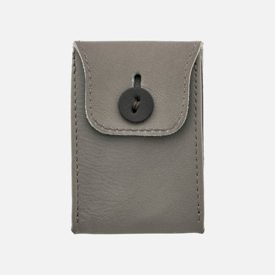 Soft Leather Mini Watch Pouch In Grey