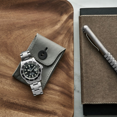 Soft Leather Mini Watch Pouch In Light Grey alternate image.