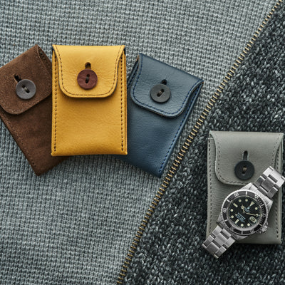 Soft Leather Mini Watch Pouch In Navy Blue alternate image.