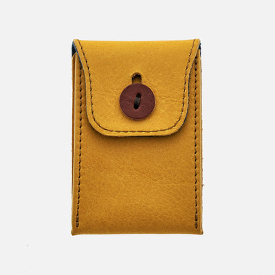 Soft Leather Mini Watch Pouch in Mustard Yellow