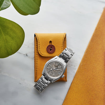 Soft Leather Mini Watch Pouch in Mustard Yellow alternate image.