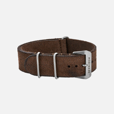 Distressed Dark Brown Leather Single-Piece Watch Strap