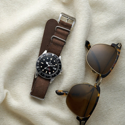Distressed Dark Brown Leather NATO Watch Strap alternate image.
