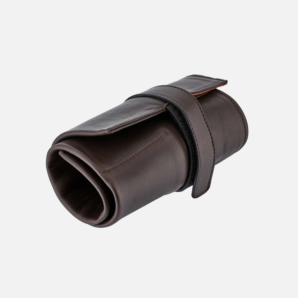 Brown Italian Leather Roll For Six Watches