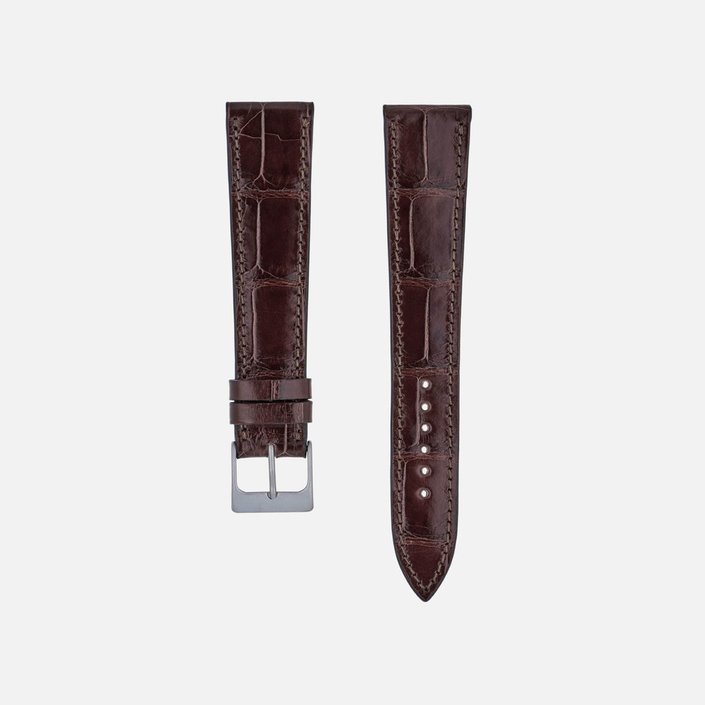 Glossy Dark Brown Alligator Watch Strap