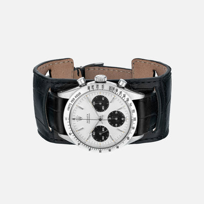 The Newman Bund Watch Strap In Black Crocodile
