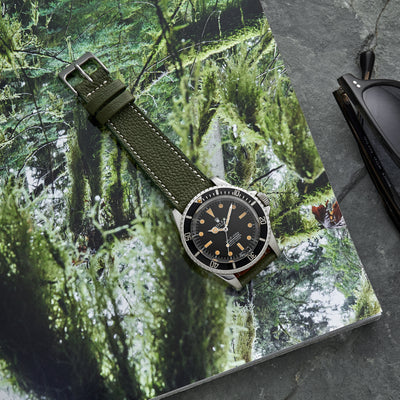 The Reid Watch Strap In Olive Green alternate image.